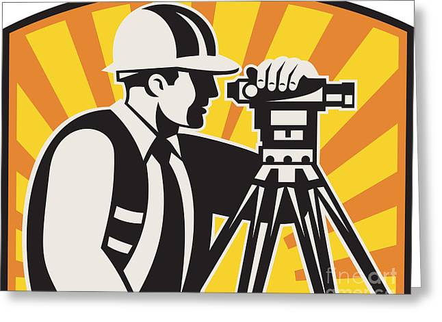 Recently Sold -  - Surveying Greeting Cards - Surveyor Engineer Theodolite Total Station Retro Greeting Card by Aloysius Patrimonio