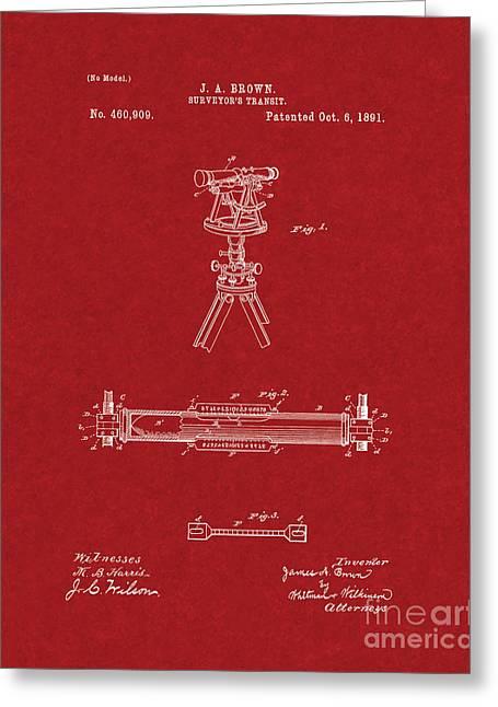 Surveying Greeting Cards - Surveyors Transit Patent - Burgundy Red Greeting Card by BJ Simpson