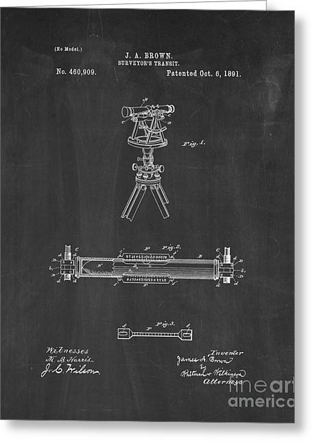 Surveying Greeting Cards - Surveyors Transit Patent - Chalkboard Greeting Card by BJ Simpson