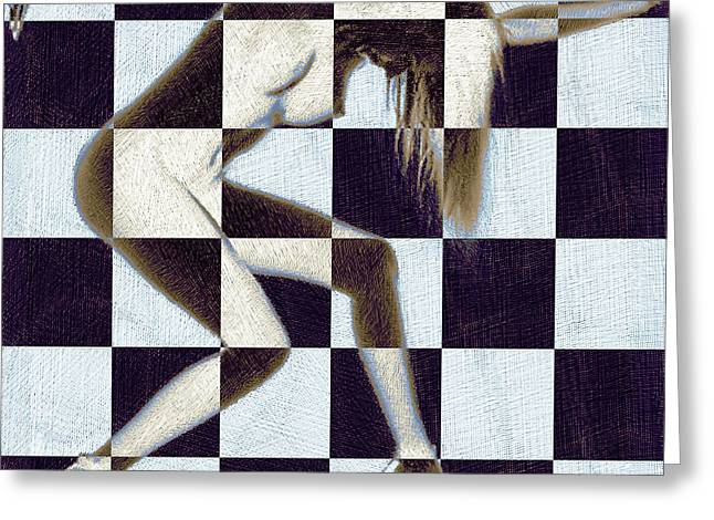 Escape Mixed Media Greeting Cards - Survive Nude Woman Checkered 2 Greeting Card by Tony Rubino