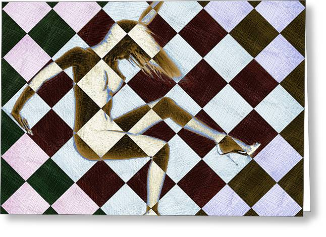 Sexy Women Framed Prints Greeting Cards - Survive Nude Woman Checkered 3 Greeting Card by Tony Rubino