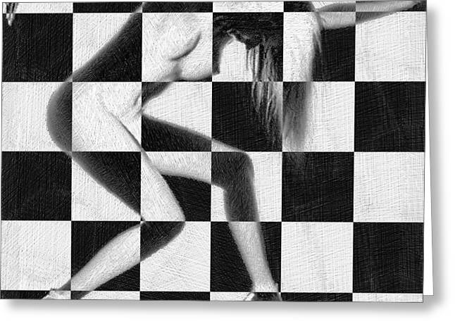 Sexy Women Framed Prints Greeting Cards - Survive Nude Woman Checkered 4 Greeting Card by Tony Rubino