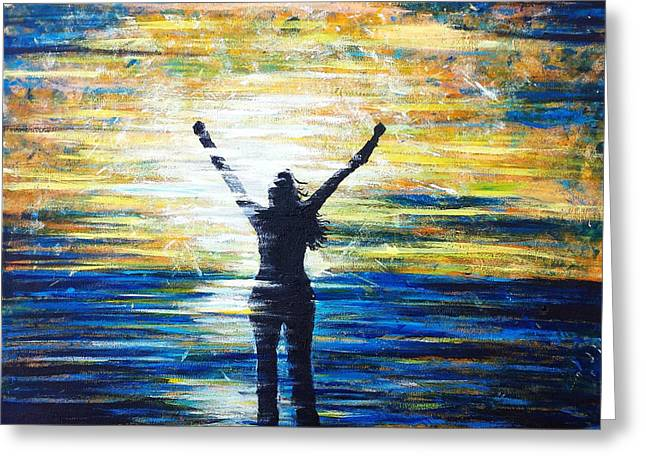 Outstretched Arm Paintings Greeting Cards - Survivor Greeting Card by Christina Deubel