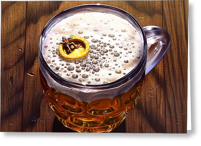Beer Paintings Greeting Cards - Survivor Greeting Card by Jerry LoFaro
