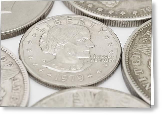 Susan B Anthony Dollar Coin Usa Greeting Card by Donald  Erickson