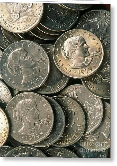 Coins Greeting Cards - Susan B. Anthony Dollar Greeting Card by David N. Davis