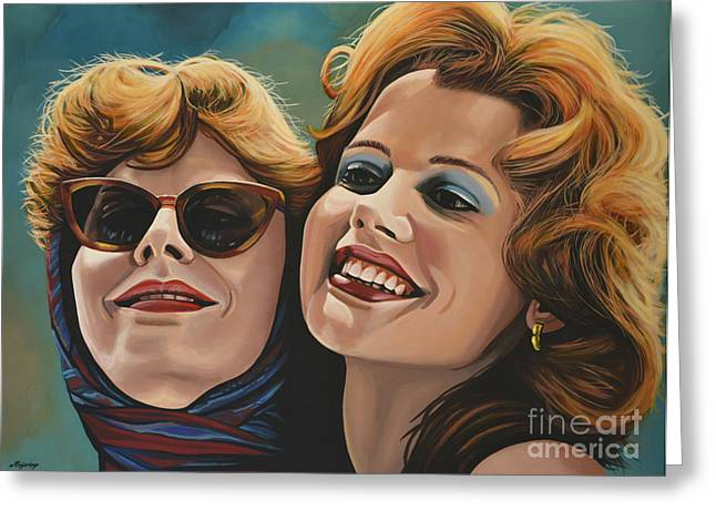 Realistic Paintings Greeting Cards - Susan Sarandon and Geena Davies alias Thelma and Louise Greeting Card by Paul  Meijering