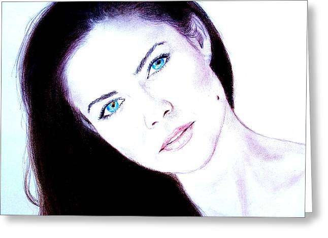 Beauty Mark Greeting Cards - Susan Ward Blue Eyed Beauty with a Mole II Greeting Card by Jim Fitzpatrick