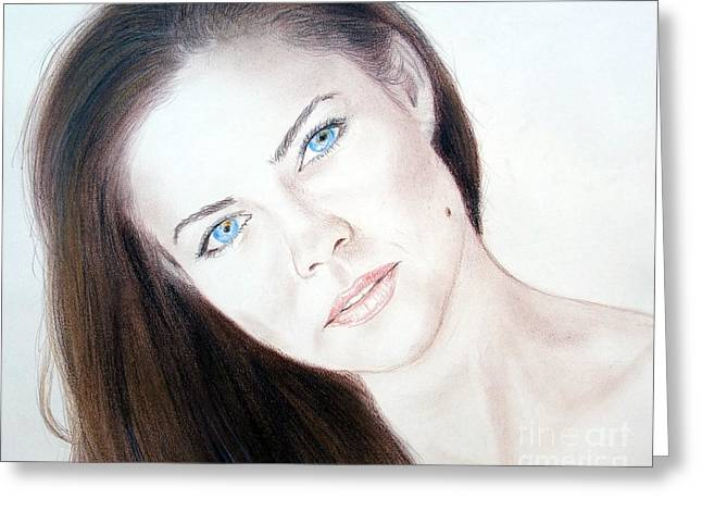 Recently Sold -  - Beauty Mark Mixed Media Greeting Cards - Actress and Model Susan Ward Blue Eyed Beauty with a Mole Greeting Card by Jim Fitzpatrick