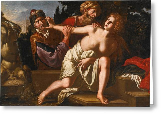 Susanna And The Elders Greeting Cards - Susanna and the Elders Greeting Card by Giovanni Francesco Guerrieri