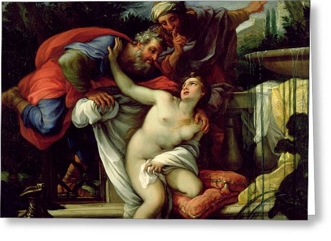 Lust Greeting Cards - Susanna and The Elders Greeting Card by Giuseppe Bartolomeo Chiari