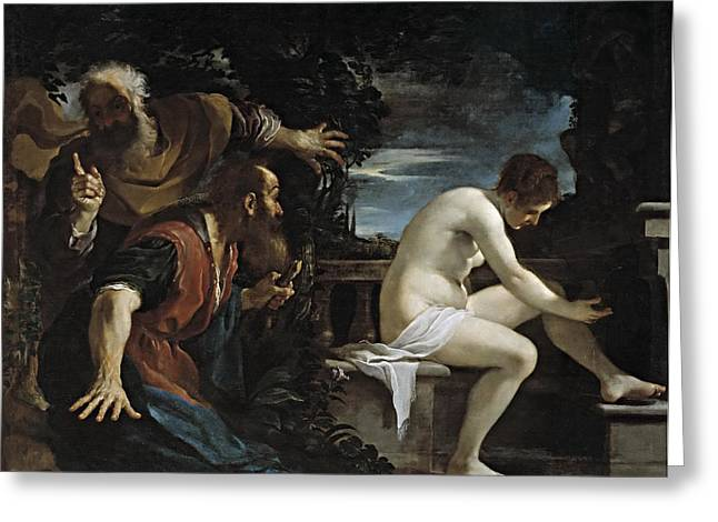 Susanna And The Elders Greeting Cards - Susanna and the Elders Greeting Card by Guercino