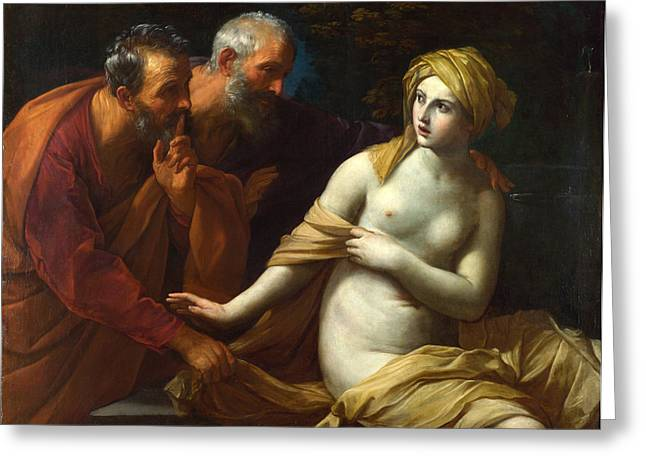 Susanna And The Elders Greeting Cards - Susanna and the Elders Greeting Card by Guido Reni