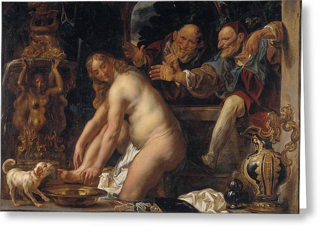 Susanna And The Elders Greeting Cards - Susanna and the Elders Greeting Card by Jacob Jordaens
