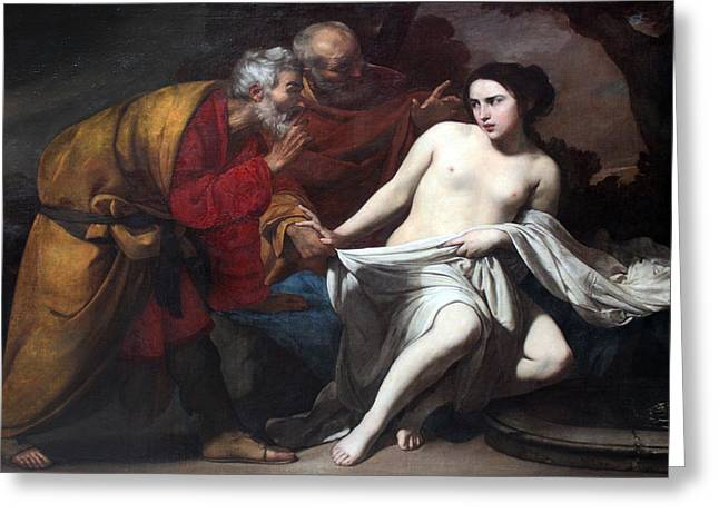 Susanna And The Elders Greeting Cards - Susanna and the Elders  Greeting Card by Massimo Stanzione