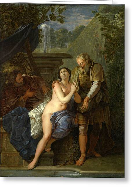 Susanna And The Elders Greeting Cards - Susanna and the Elders Greeting Card by Nicolas Bertin