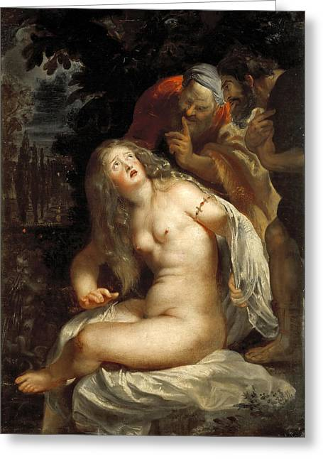 Susanna And The Elders Greeting Cards - Susanna and the Elders Greeting Card by Peter Paul Rubens