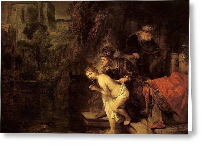 Susanna And The Elders Greeting Cards - Susanna and the elders Greeting Card by Rembrandt van Rijn
