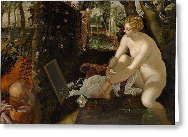 Susanna And The Elders Greeting Cards - Susanna and the Elders Greeting Card by Tintoretto