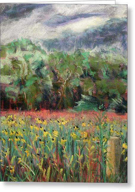 Cloudy Pastels Greeting Cards - Susans before the Rain Greeting Card by Tim  Swagerle