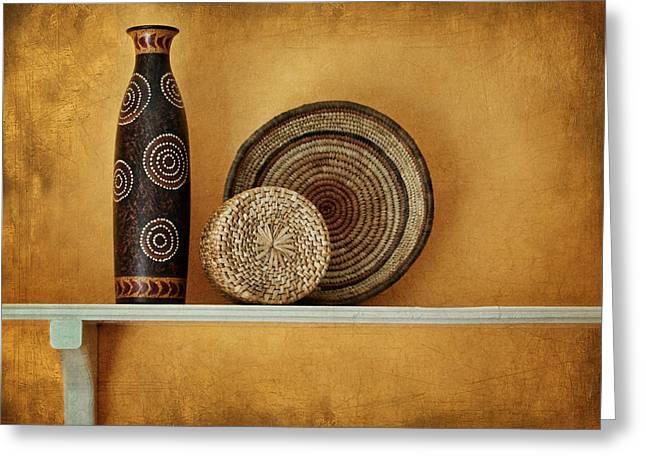 Indian Vase Greeting Cards - Susans Shelf - Still Life Greeting Card by Nikolyn McDonald