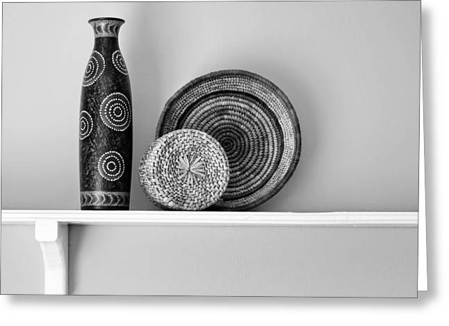 Indian Vase Greeting Cards - Susans Shelf - Still Life - Black and White Greeting Card by Nikolyn McDonald