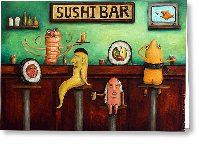Sushi Bar Improved Image Greeting Card by Leah Saulnier The Painting Maniac