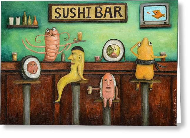 Salmon Paintings Greeting Cards - Sushi Bar updated image Greeting Card by Leah Saulnier The Painting Maniac