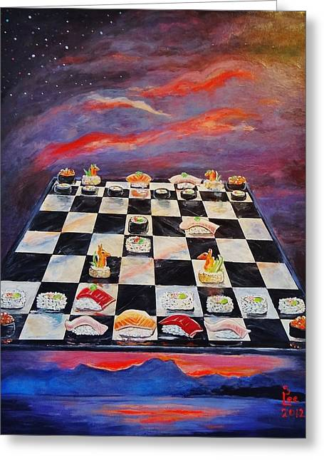 Chess Piece Paintings Greeting Cards - Sushi Chess Greeting Card by Shannon Lee