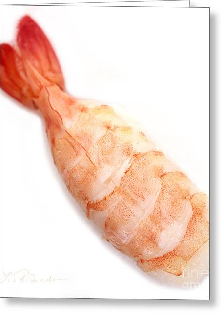 Ethnic Food Greeting Cards - Sushi Cooked Shrimp Greeting Card by Iris Richardson