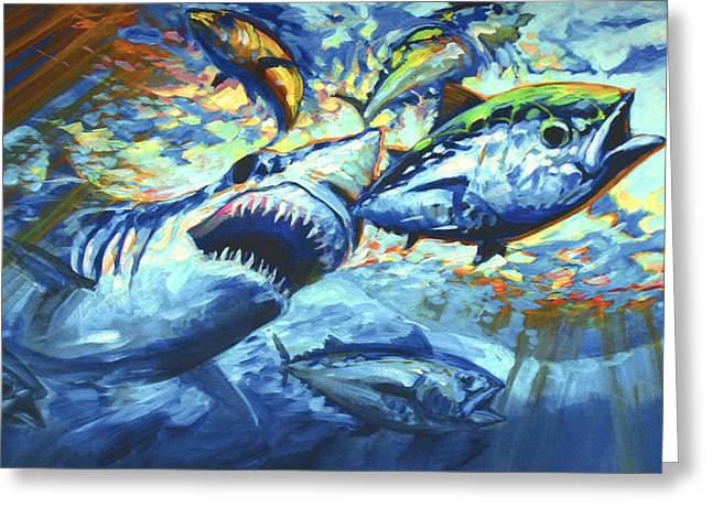 Mako Shark Greeting Cards - Sushi for Breakfast Greeting Card by Mike Savlen