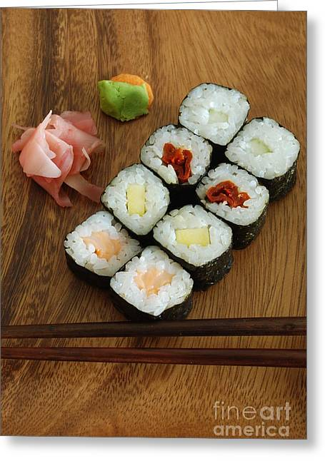 Wasabi Greeting Cards - Sushi hossomakis Greeting Card by Luis Alvarenga