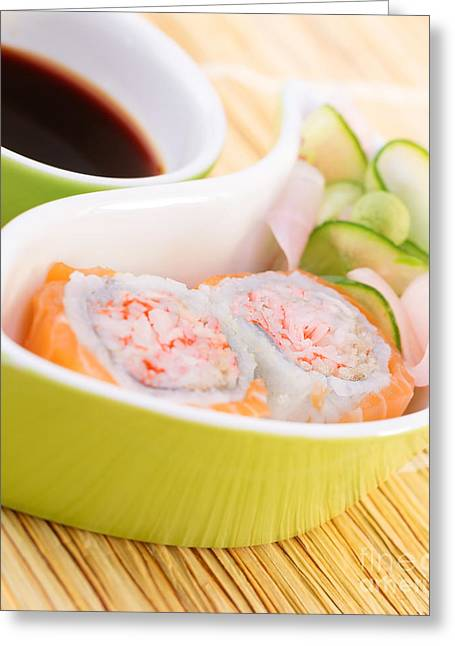 Wasabi Greeting Cards - Sushi in restaurant Greeting Card by Anna Omelchenko