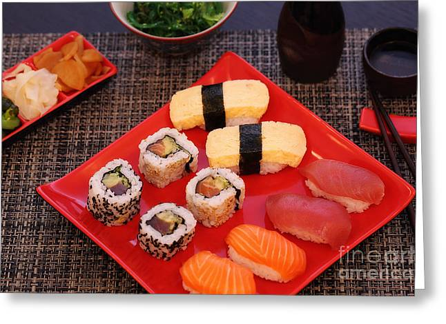 Hjbh Photography Greeting Cards - Sushi on a plate made by Iseya Greeting Card by LHJB Photography