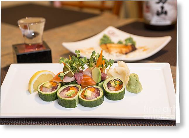 Sashimi Greeting Cards - Sushi Roll - Delicious sushi at a modern Japanese Restaurant. Greeting Card by Jamie Pham