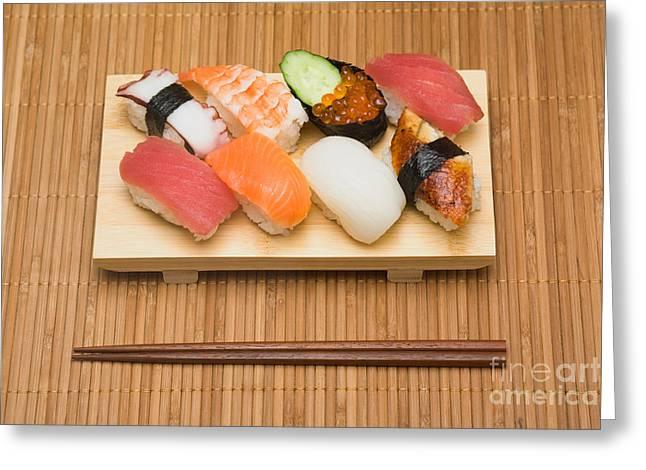 Wooden Platform Greeting Cards - Sushi Set Greeting Card by Ei Katsumata