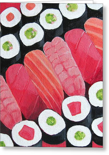 Salmon Paintings Greeting Cards - Sushi Greeting Card by Toni Silber-Delerive