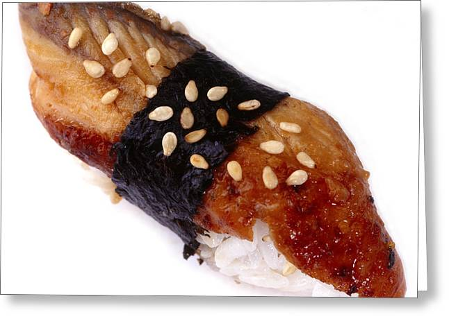Ethnic Food Greeting Cards - Sushi unagi fresh water eel Greeting Card by Iris Richardson