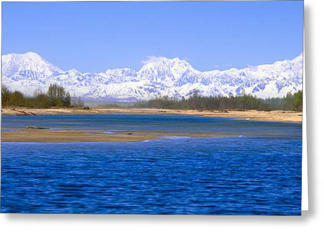 Snow Capped Greeting Cards - Susitna River And Mount Mckinley, Alaska Greeting Card by Panoramic Images