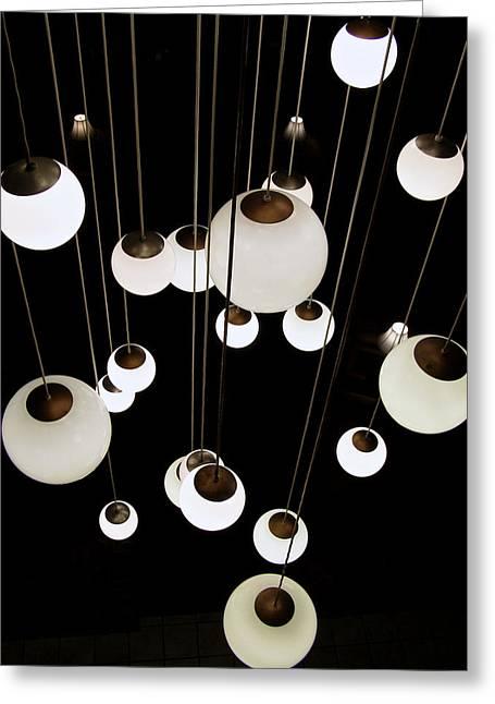 Nicholas Greeting Cards - Suspended - balls of light art print Greeting Card by Jane Eleanor Nicholas