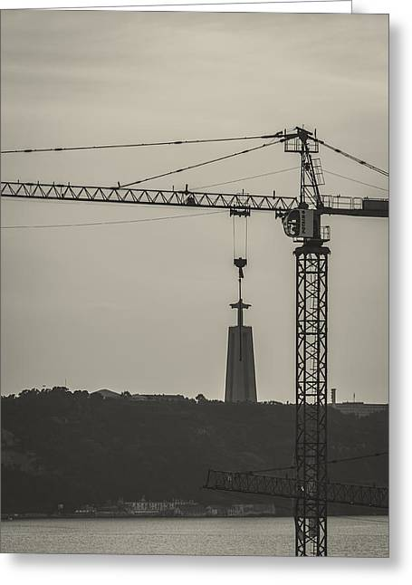 Tower Crane Greeting Cards - Suspended Christ Greeting Card by Marco Oliveira