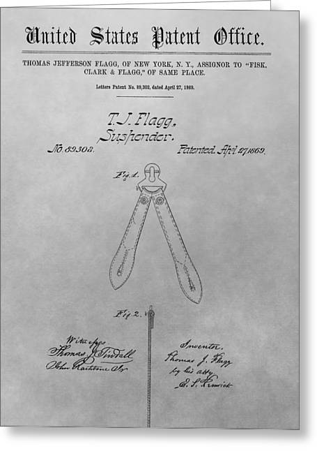 Levi Greeting Cards - Suspender Patent Drawing Greeting Card by Dan Sproul