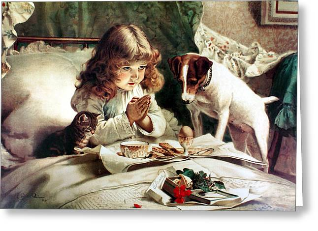 Puppies Digital Greeting Cards - Suspense Greeting Card by Charles Burton Barber