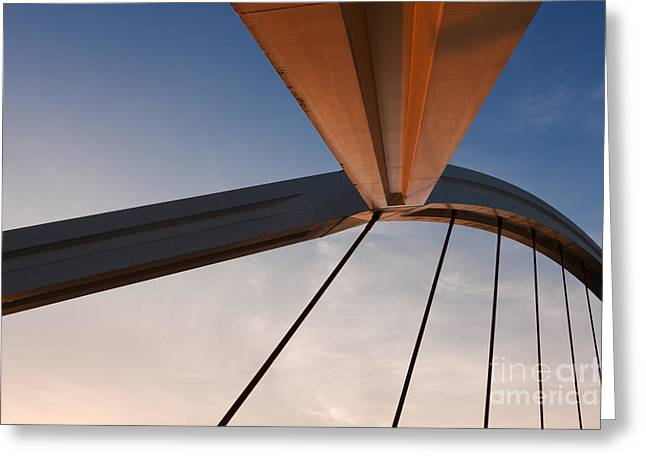 Warm Light Greeting Cards - Suspension Bridge Greeting Card by Rod McLean