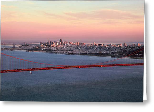 San Francisco Bay Greeting Cards - Suspension Bridge Across A Bay, Golden Greeting Card by Panoramic Images
