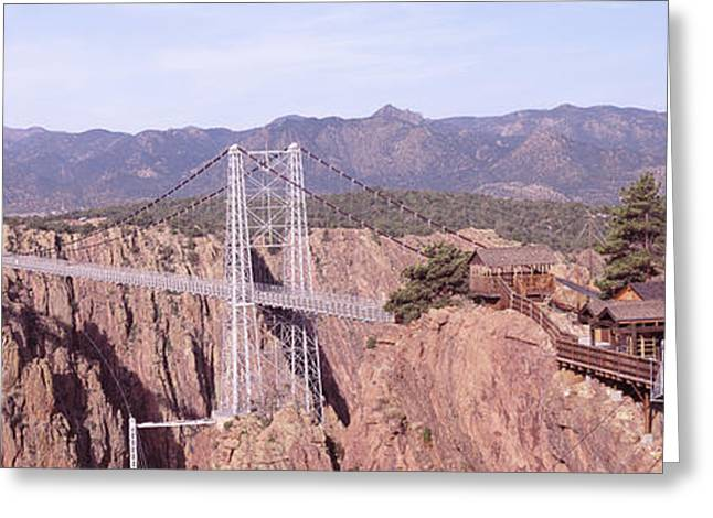 Royal Gorge Greeting Cards - Suspension Bridge Across A Canyon Greeting Card by Panoramic Images