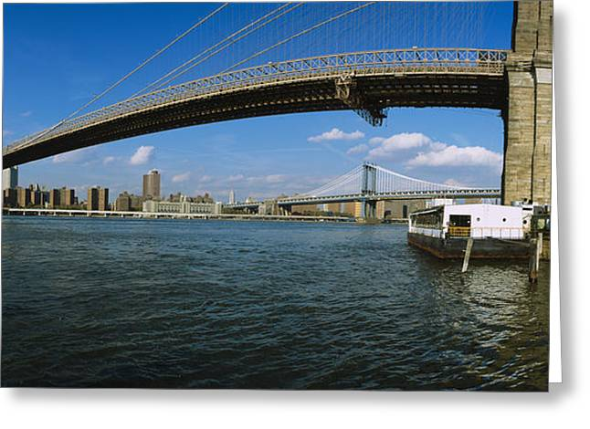 Locations Greeting Cards - Suspension Bridge Across A River Greeting Card by Panoramic Images