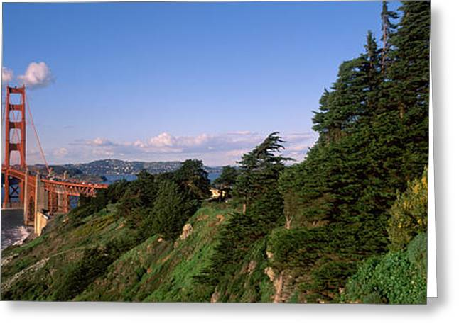San Francisco Bay Greeting Cards - Suspension Bridge Across The Bay Greeting Card by Panoramic Images