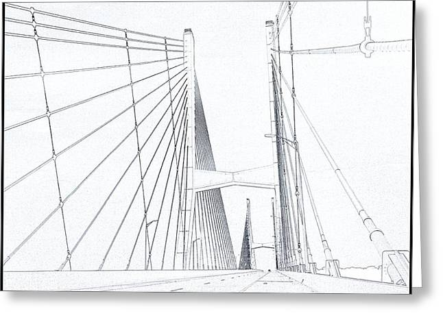 Road Travel Greeting Cards - Suspension Bridge Sketch Greeting Card by Dan Sproul
