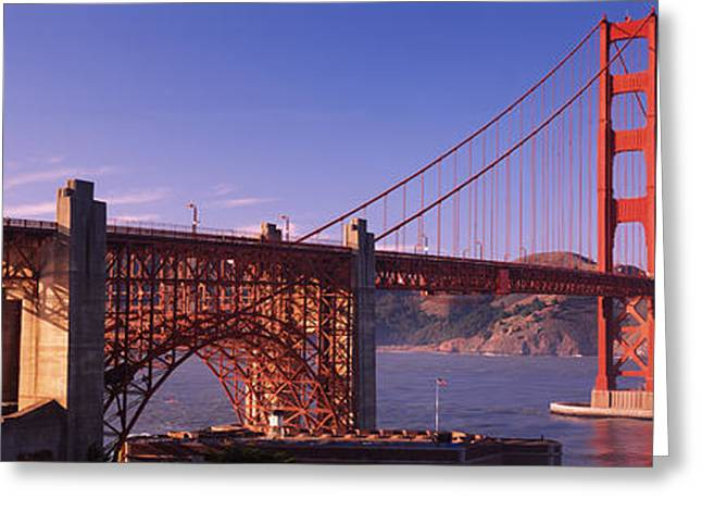 Ironwork Greeting Cards - Suspension Bridge At Dusk, Golden Gate Greeting Card by Panoramic Images